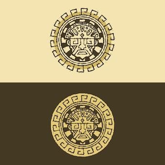Дизайн логотипа древней эмблемы майя