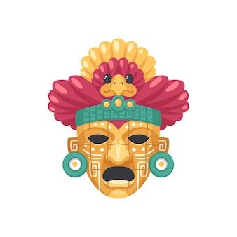 Illustrazione della maschera della civiltà maya