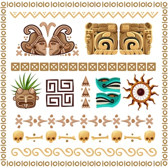 Mayan ornaments and patterns cartoon set