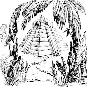 ジャングルのマヤのピラミッド。ヴィンテージベクトルハッチング黒イラスト。手描きデザインインク