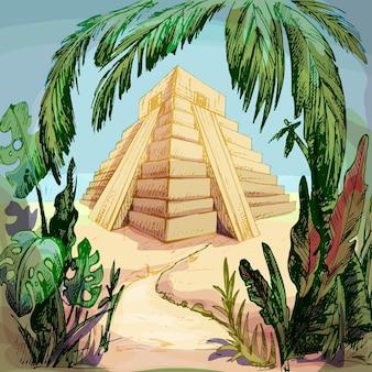 ジャングルのマヤのピラミッド。ヴィンテージベクトルハッチングカラーイラスト。