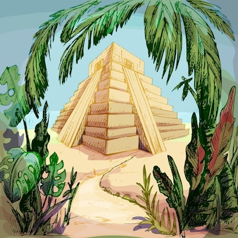 Mayan pyramid in the jungle. vintage vector hatching color illustration.