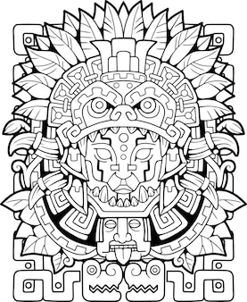 Mayan style illustration for colouring