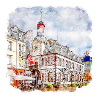 마옌 독일 수채화 스케치 손으로 그린 그림
