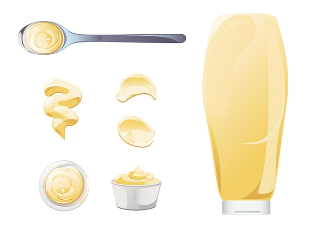 Mayonnaise in bowl, bottle, stains and splash set. condiment white sauce icon set. top and front view vector illustration.
