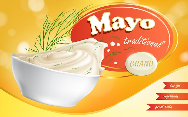 Марка майонеза в тарелке с низким содержанием жира.