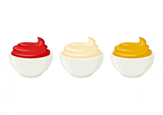 Майонез, горчица, томатный кетчуп. соусы в мисках. иллюстрация
