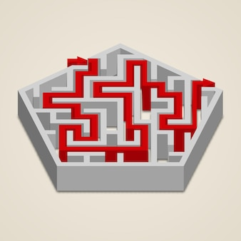 Maze 3d labyrinth with solution