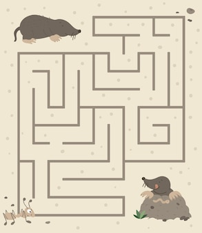 Maze for children. preschool activity with mole digging the ground and going for worm. Premium Vector