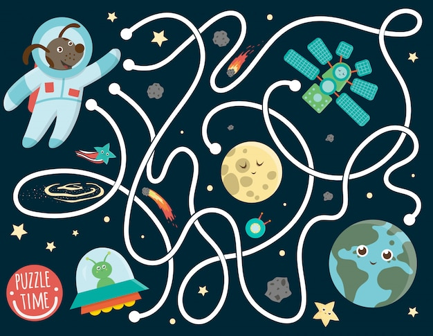 Maze for children. preschool space activity. puzzle game with the earth, astronaut, moon, alien, star, space ship. cute funny smiling characters.