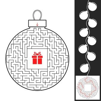 Лабиринт для рождественских игрушек для детей Premium векторы