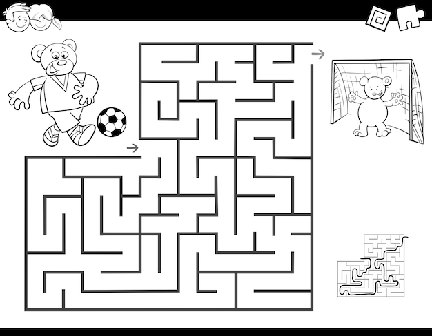 Maze color book with bear playing soccer