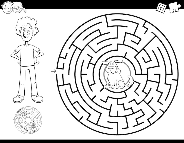 Maze color book with boy and dog