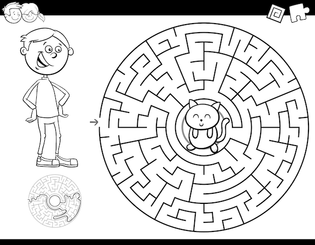 Maze color book with boy and kitten