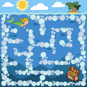 Maze education game for children. little mermaid and treasure chest