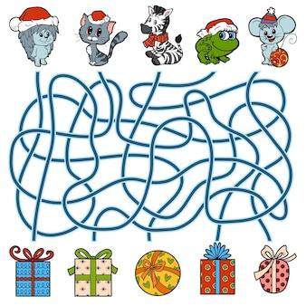 어린이, 작은 동물 및 크리스마스 선물을 위한 미로 교육 게임