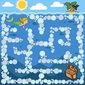 어린이를 위한 미로 교육 게임. 인어공주와 보물상자