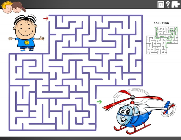 Maze educational game with boy and toy helicopter