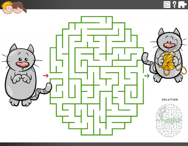 Maze educational game with cartoon cat and yarn