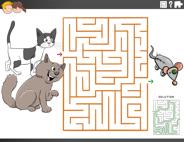 Maze educational game with cartoon cats