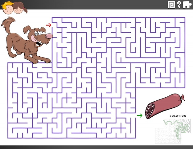 Maze educational game with cartoon dog and sausage