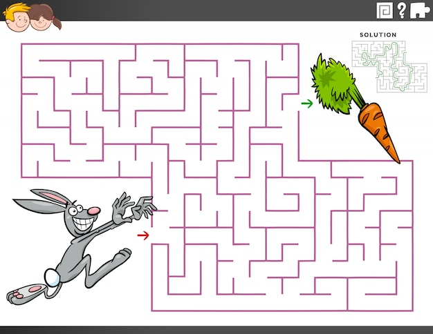 Maze educational game with cartoon rabbit and carrot