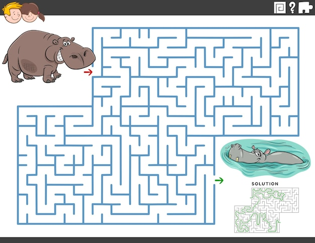 Maze educational game with funny hippos animal characters