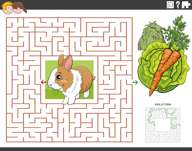 Maze educational game with rabbit with carrot and lettuce