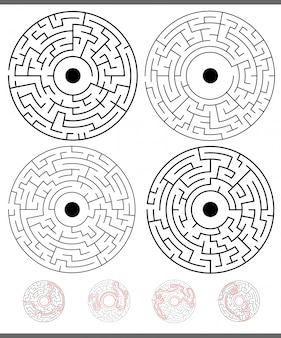 Maze game activities set with solutions