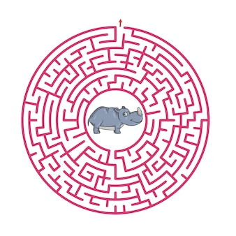 Maze game for children cute cartoon worksheet   illustration