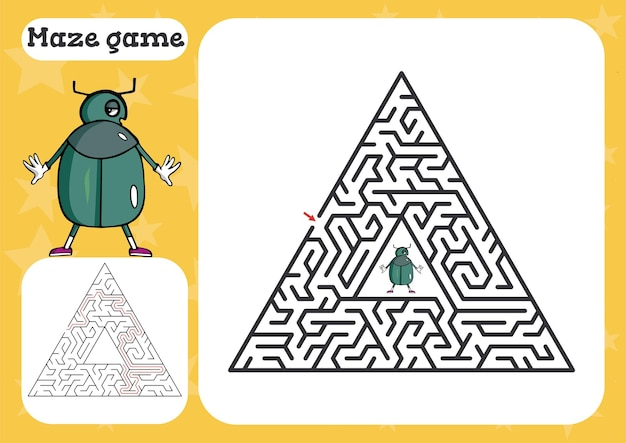 Maze game for children cute cartoon worksheet   illustration