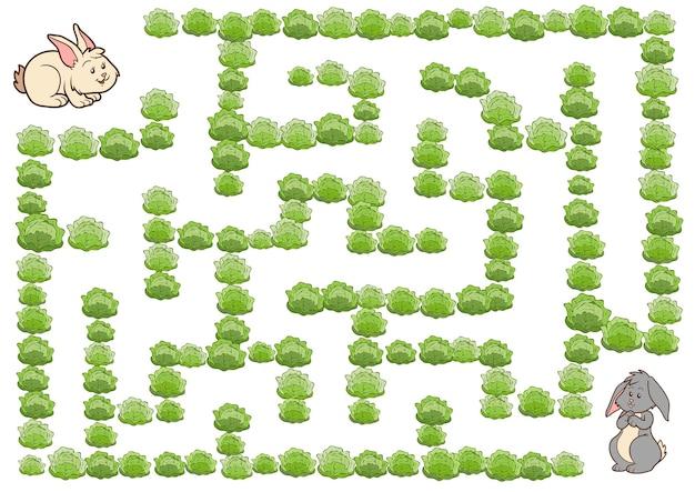 Maze game, education game for children, rabbit