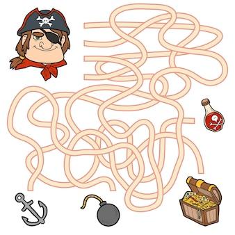 미로 게임, 어린이를 위한 교육 게임. 보물 상자를 얻기 위해 해적을 도와주세요