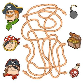 미로 게임, 어린이를 위한 교육 게임. 해적 캐릭터와 아이템
