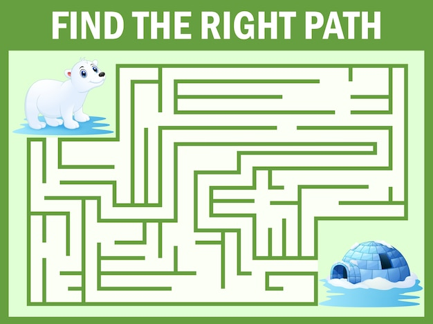 Maze game find polar bear walk away to igloos