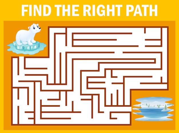 Maze game find polar bear walk away to pole