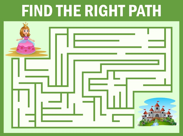 Maze game find a princess way to castle