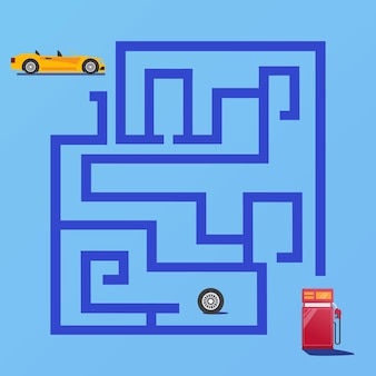 迷路ゲームは、子供の教育とコレクションのためのガソリンスタンドプレミアムベクトルへの車の道を見つけます