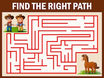 Maze game finds the cowboy and cowgirl way get to horse
