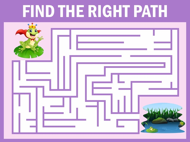 Лабиринт игры находит, что принц лягушки добирается до озера