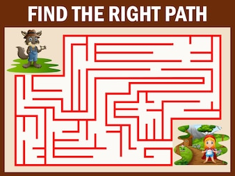 Maze game finds the wolf way get to girl red hooded