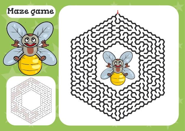 Лабиринт для детей милый мультфильм лист иллюстрации