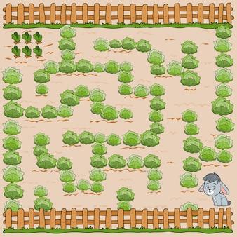 어린이를 위한 미로 게임. 교육 게임. 토끼가 당근을 찾도록 도와주세요