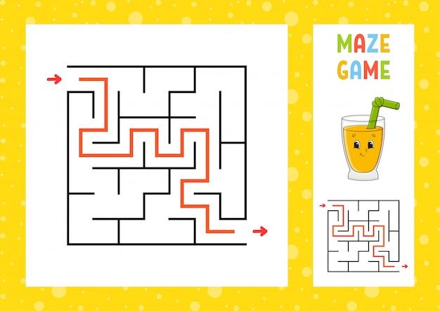 Лабиринт. игра для детей. забавный лабиринт. рабочий лист развития образования. страница активности. пазл для детей. милый мультяшный стиль загадка для дошкольников. логическая головоломка. цветная векторная иллюстрация.