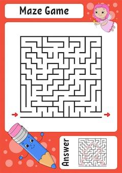 Лабиринт. игра для детей. забавный лабиринт. рабочий лист развития образования.