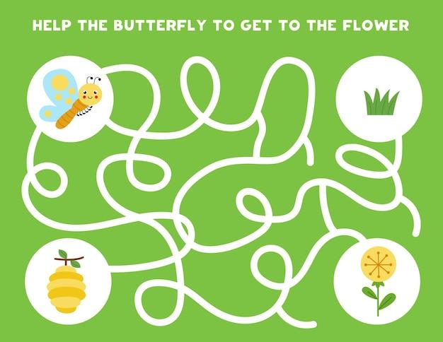 子供のための迷路ゲーム。かわいい蝶が花に到達するのを手伝ってください。子供のためのワークシート。