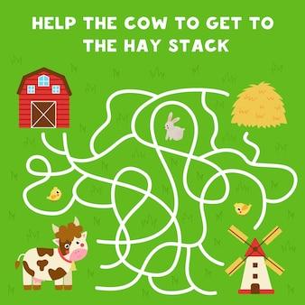 子供のための迷路ゲーム。かわいい牛が干し草の山にたどり着くのを手伝ってください。子供のためのワークシート。