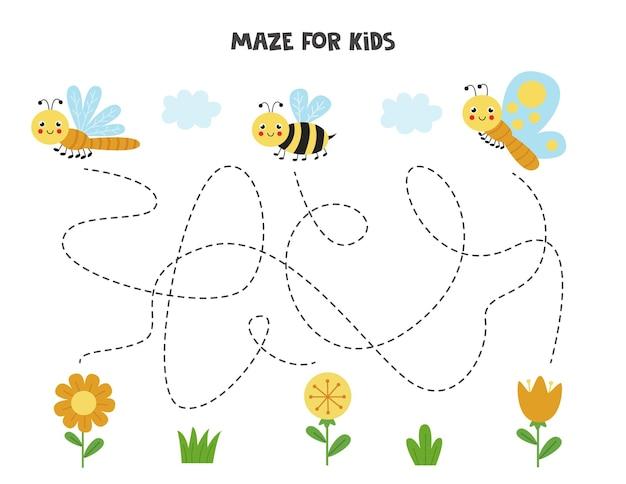 子供のための迷路ゲーム。かわいい昆虫が花に到達するのを手伝ってください。子供のためのワークシート。