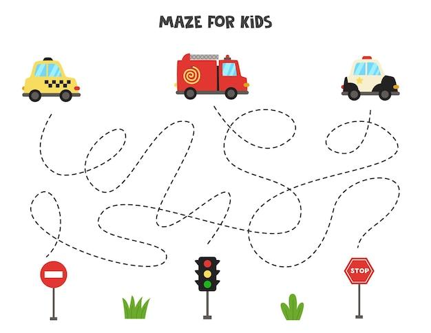 Лабиринт для детей. помогите транспортным средствам добраться до дорожных знаков. рабочий лист для детей.