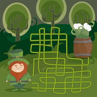 ノームと緑色のビールを持つ子供のための迷路ゲーム。赤いレプラコーンが緑のビールへの道を見つけるのを手伝ってください。ゲームとベクトル漫画テンプレートページ。